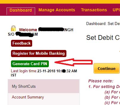how to get OTP for PNB Debit card green pin?