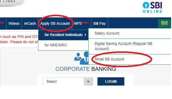 SBI online bank account open